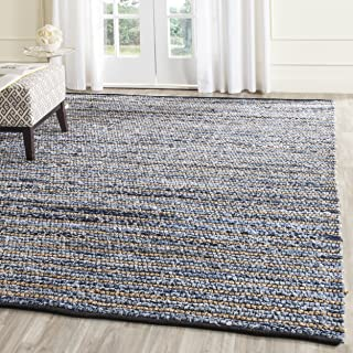 Safavieh Cape Cod Collection CAP363A Hand Woven Blue and Natural Jute and Cotton Area Rug (5' x 8')