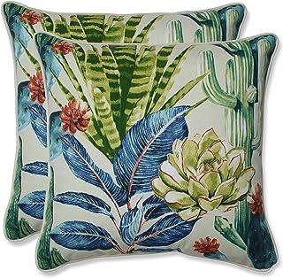Pillow Perfect Outdoor | Indoor Hatteras Garden 16.5 Inch Throw Pillow (Set Of 2), 16.5 X 16.5 X 5, Black