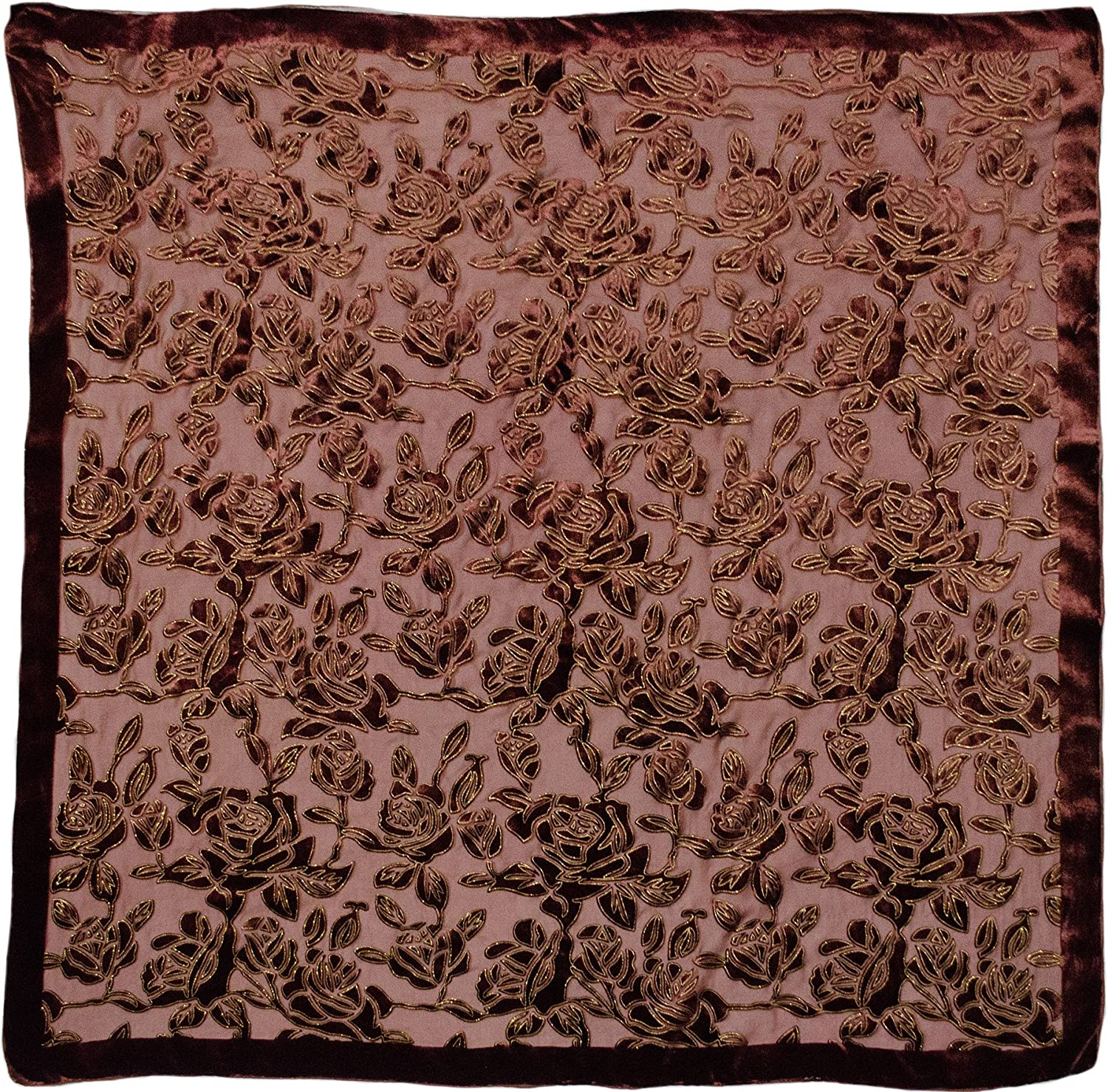 Lightweight Silk Burnout Floral Tinsel Velvet Square Shawl Scarf Wrap Rust