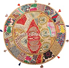 Stylo Culture Indian Boho Floor Pillow Vintage Patchwork Cushion Cover Beige Large 32x32 Decorative Bohemian Round Hassock...