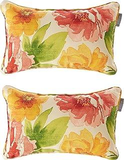 "Pillow Perfect Indoor/Outdoor Primro Corded Rectangular Throw Pillow, Orange, Set of 2,5"" H x 11.5"" W x 18.5"" D"