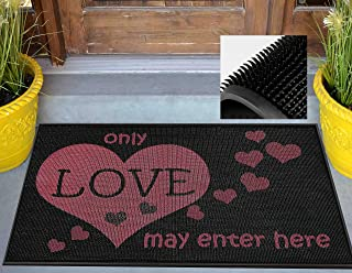 Love Welcome Mat - High-functioning Durable Front Door Mat - Eco-friendly Recycled Entry Mat - Super Easy to Clean-Or use it indoors barefoot for stimulating foot therapy-Size18x27.5 in. (Love Print)