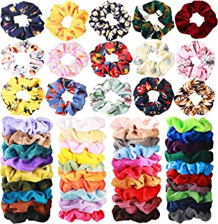 54 Pcs Hair Scrunchies 40 Velvet Hair Scrunchies 14 Chiffon Flower Hair Scrunchies Hair Elastic Scrunchy Ties Ropes Scrunchie for Women or Girls Hair Accessories, 54 Assorted Colors Scrunchies