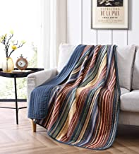 Chezmoi Collection Avery 3-Piece Multi-Color Striped 100% Washed Cotton Quilt Set, Cotton, Multi, Throw