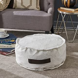 Christopher Knight Home Alice White Fabric Round Bean Bag Ottoman