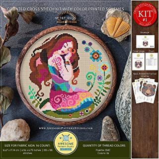Virgo #K187 Embroidery Kit | Stitching | Embroidery Kits | Zodiac Signs Cross Stitch Designs | Embroidery Designs | Stitch Patterns | How to Embroider