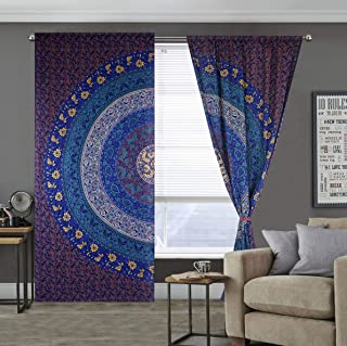 SHIRANYA 100% Cotton Multicolor Indian Mandala Curtains Tapestry Bohemian Window Curtain Panels Pair (Size-83x38 Inch) Set...