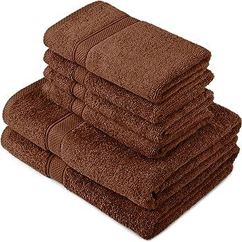 Pinzon by Amazon - Juego de toallas de algodón egipcio (2 toallas de baño y 4 toallas de manos), color marrón: Amazon.es: Hogar