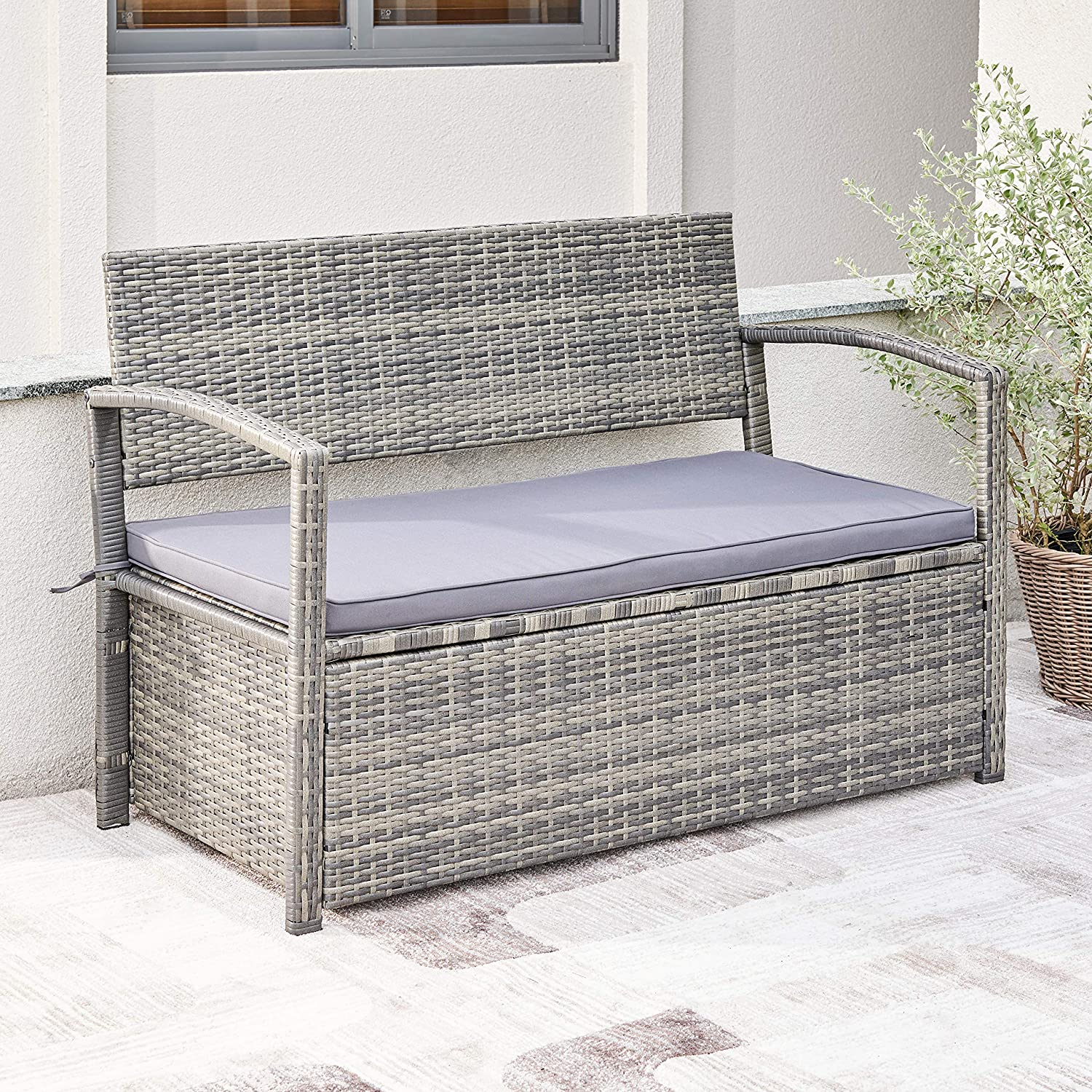 VIFAH V1924 Gabrielle All-Weather gift Resin Lounge Max 63% OFF Sofa Patio Wicker