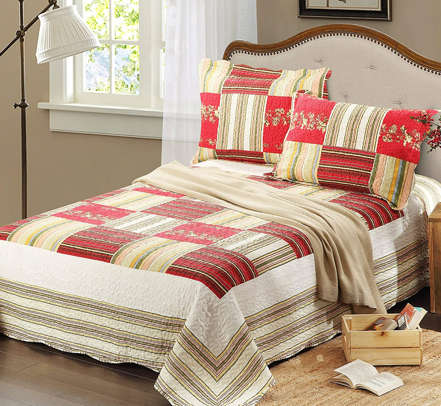 Tache Home Fashion SD8039-Cal King 3 Pc Red Checkmate Lightweight colorful Summer Spring Reversible Print Patchwork Bedspread Quilt Set, Cal
