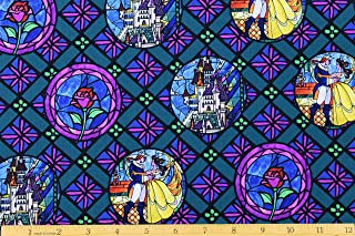 Disney Beauty and the Beast Badges Fabric by the Yard