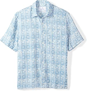 28 Palms Men's Relaxed-Fit 100% Linen Reverse Print Shirt, Washed