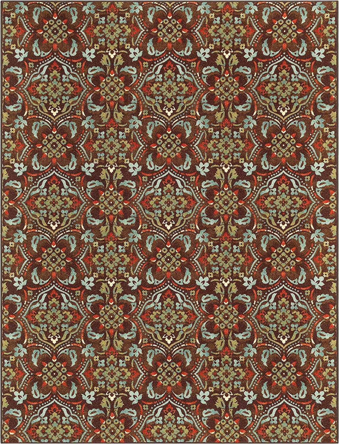 Well Woven Kings Court Florence Traditional Damask Ranking Industry No. 1 TOP8 5' Brown 7' x