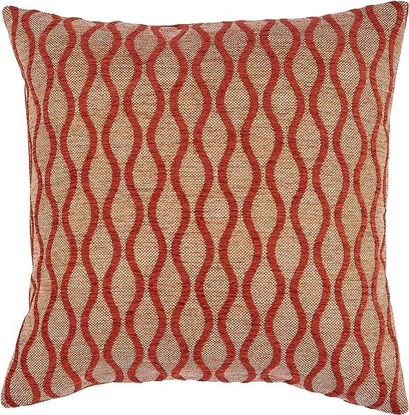 Rivet Mid Century Wave Throw Pillow 17 X 17 Inch Blaze