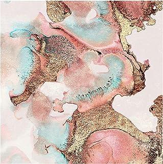 Bilderwelten Papel Pintado Adhesivo - Golden Watercolor Rosé - Mural Cuadrado 192 x 192cm