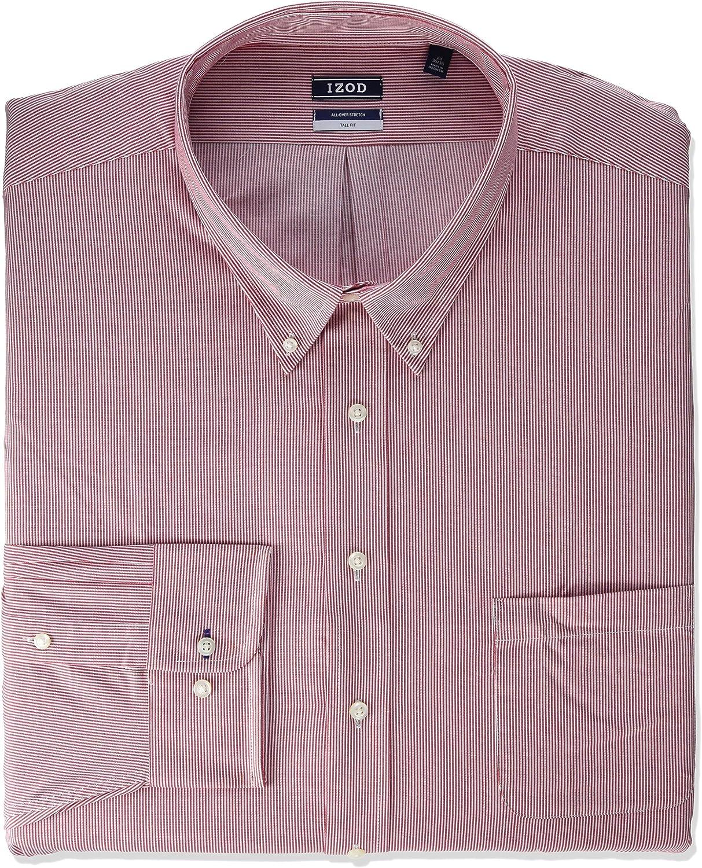 IZOD Men's Size Fit Dress Shirt Stretch Stripe (Big and Tall)
