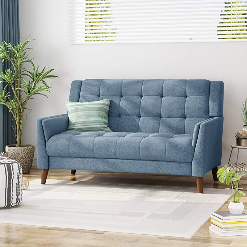 Christopher Knight Home 305543 Alisa Mid Century Modern Fabric Loveseat Blue