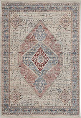 "Nourison Enchanting Home Traditional Blue/Grey 5' x 8' Area Rug , 5'3"" x 7'8"""