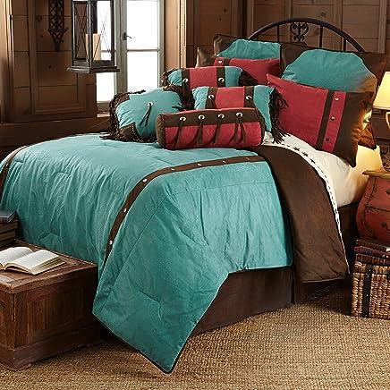 HiEnd Accents Turquoise Cheyenne Western Comforter Set,  Super King
