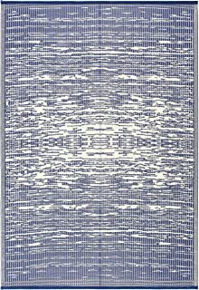 Lightweight Indoor Outdoor Reversible Plastic Area Rug - 5.9 x 8.9 Feet - California - Blue/White