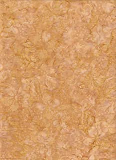"Timeless Treasures Earth Gold Aloha Batik ~ HALF YARD!! ~ Java Block Printed (Tjap Stamped) Gold Vineyard Bali Tie Dye (Ikat) Batik ~ Quilt 100% Cotton 44"" Wide"