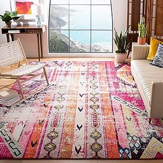 Safavieh Monaco Collection MNC222D Modern Bohemian Distressed Area Rug, 8' x 10', Magenta/Multi