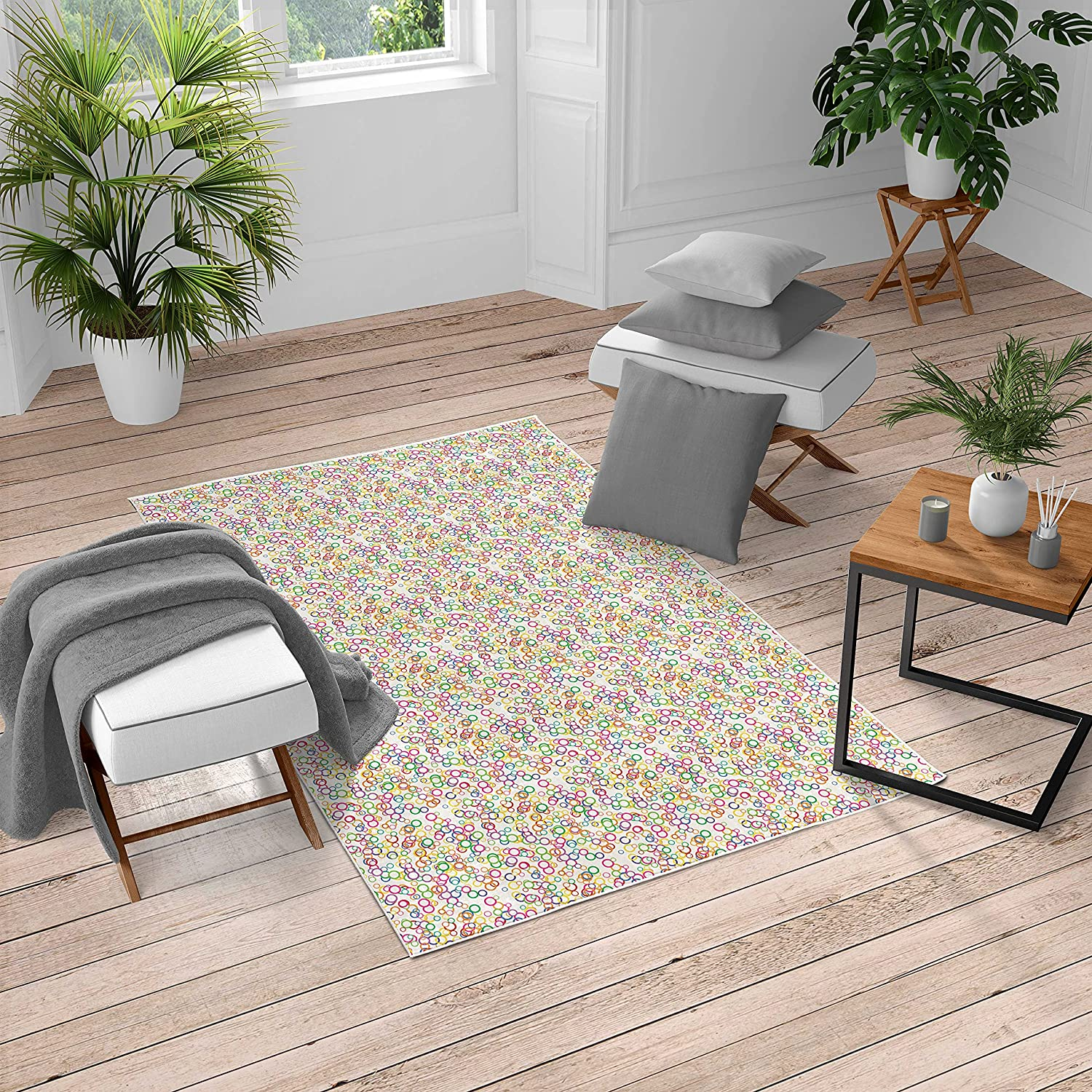 Long-awaited Ambesonne Rainbow Turkish Max 65% OFF Area Party Gather Circles Rug