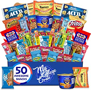 My College Crate Microwave Snack Care Package - 50 Piece Bulk Variety Pack Box for Adults and Kids with Ramen M...