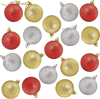 Juvale 48-Pack Mini Christmas Tree Ornaments - Glitter Red, Gold, Silver Shatterproof Small Christmas Balls Decoration, 3 Assorted Colors, Hanging Plastic Bauble Holiday Decor, 1.5 Inches