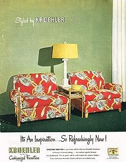 1946 Kroehler Cushionized Chairs Furniture Original Advertisement