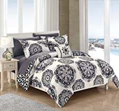 Chic Home Barcelona 6 Piece Reversible Comforter Set, Twin Black