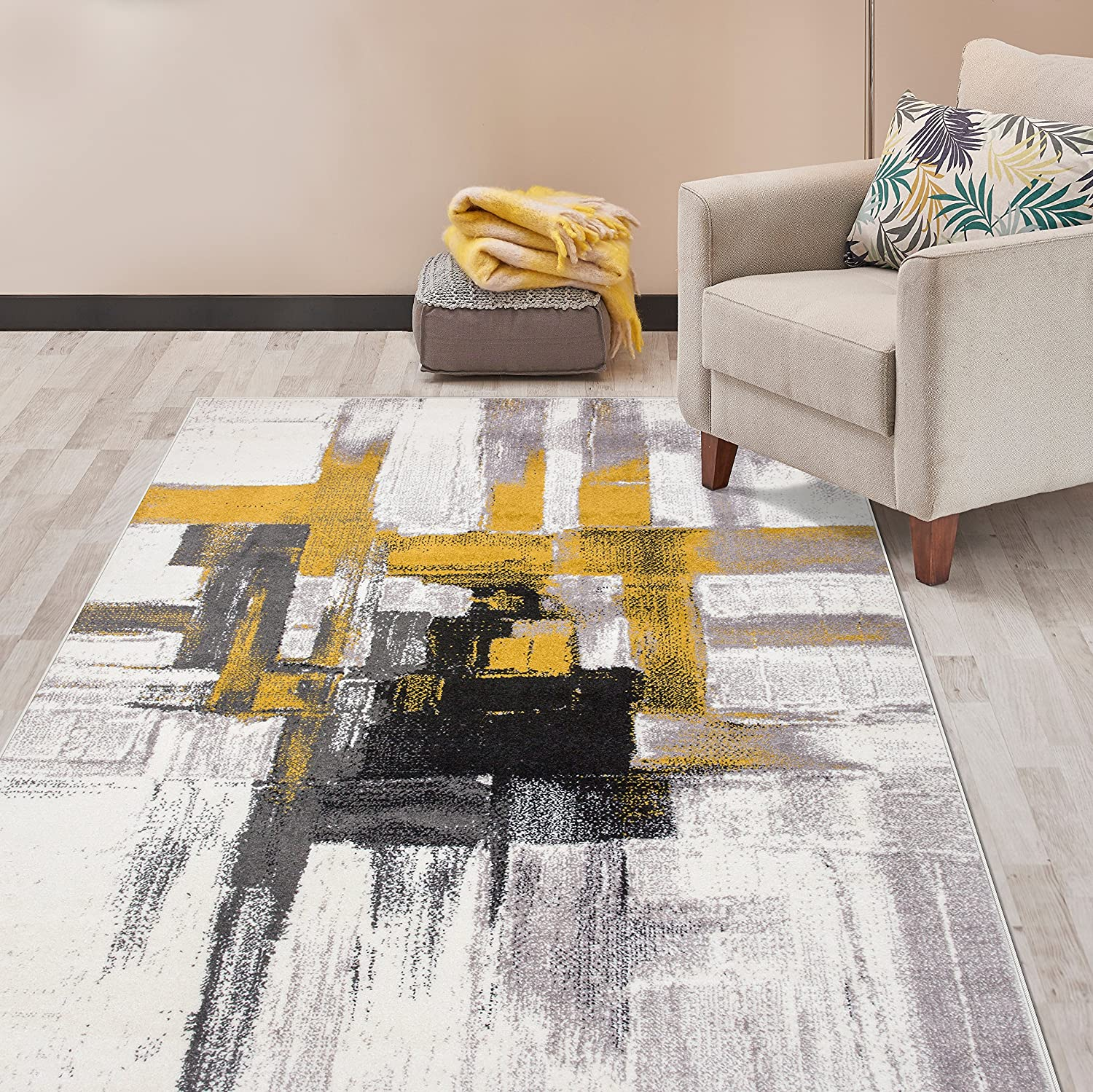 Rugshop Contemporary Modern Abstract Area Rug 5' x 7' Gold