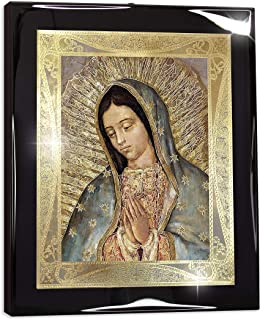 "Framed Our Lady of Guadalupe Half Body Portrait Italian Gold Foil (10""x12"") - Religious Wall Art Print Poster"