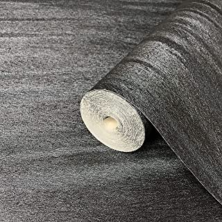 76 sq.ft Rolls Made in Italy Portofino Textured Unique Luxury Italian Wall coverings Modern Embossed Vinyl Wallpaper Charcoal Black Metallic Silver wallcovering Lines Animal Print Faux Fur Pattern 3D