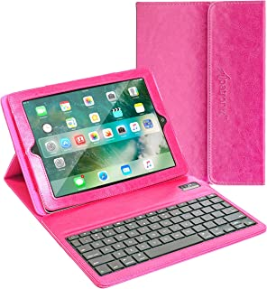 Alpatronix KX100 Leather Folio Case with Removable Magnetic Bluetooth Wireless QWERTY Keyboard with Stand & Auto Wake/Sleep Function Compatible for iPad 3 & 4 (Pink)
