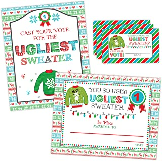 Ugly Sweater Party Sign and Award, Christmas Tacky Sweater Party Decoration, Ugly Sweater Voting Cards, Christmas Party Sign