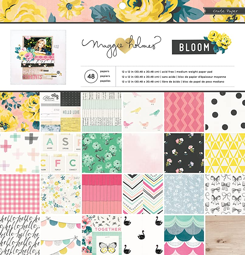 American Crafts Crate Paper Maggie Holmes Bloom 36 Sheet Paper Pad, 12 by 12