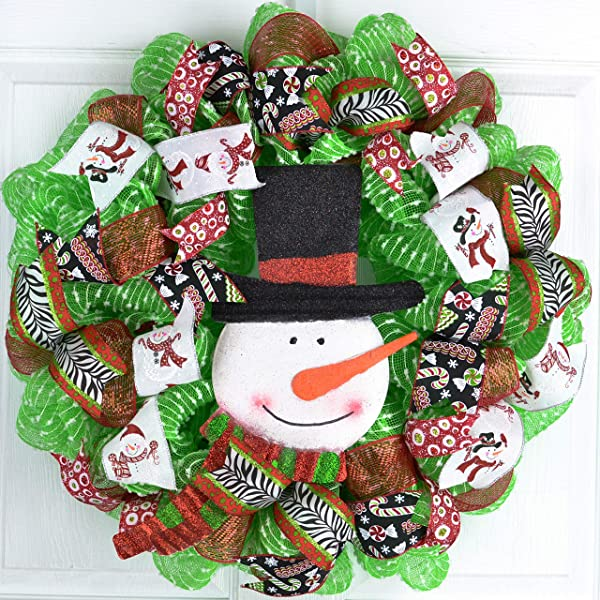 Snowman Wreath Christmas Mesh Front Door Wreath White Red Black Lime Green