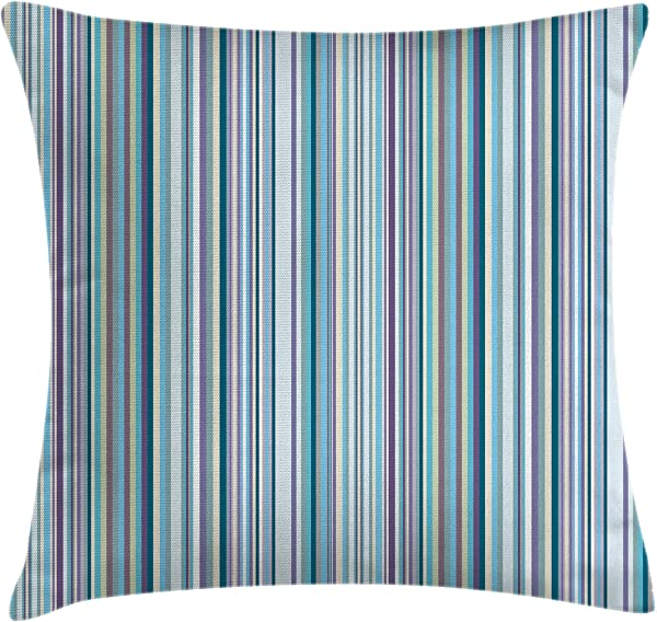 Ambesonne Striped Throw Pillow Cushion Cover Blue Purple Teal Aqua Lavender Colored Vertical Stripes Geometric Abstract Vintage Decorative Square Accent Pillow Case 18 X 18 Light Blue