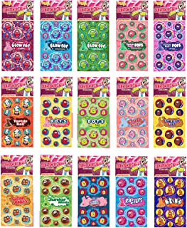 Dr. Stinky's Scratch N Sniff Stickers Favorite Candy 15-Pack- Blow Pop, Tootsie Roll Pop, Tootsie Roll, Dots, Fluffy Stuff, Charleston Chew, Sugar Babies, Junior Mints, Dubble Bubble, Razzles