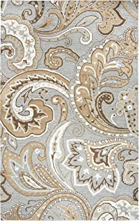Rizzy Home Suffolk Collection Wool Area Rug, 5' x 8', Gray/Natural Paisley