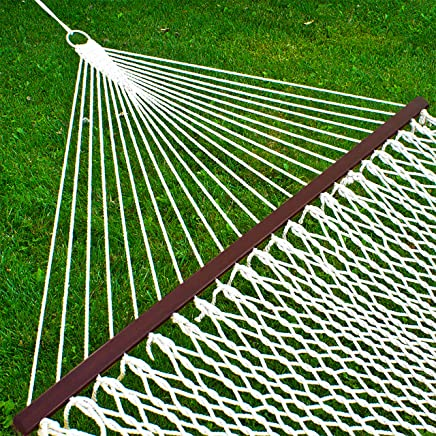 Best Choice Products Woven Cotton Rope Double Hammock w/ Wood Spreader and Carrying Case - White