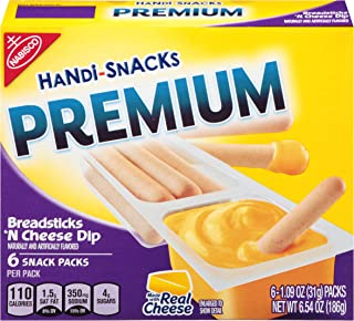 Handi Snacks Premium Breadsticks 'n Cheese Dip, 6 Packs, 6.54 Ounce
