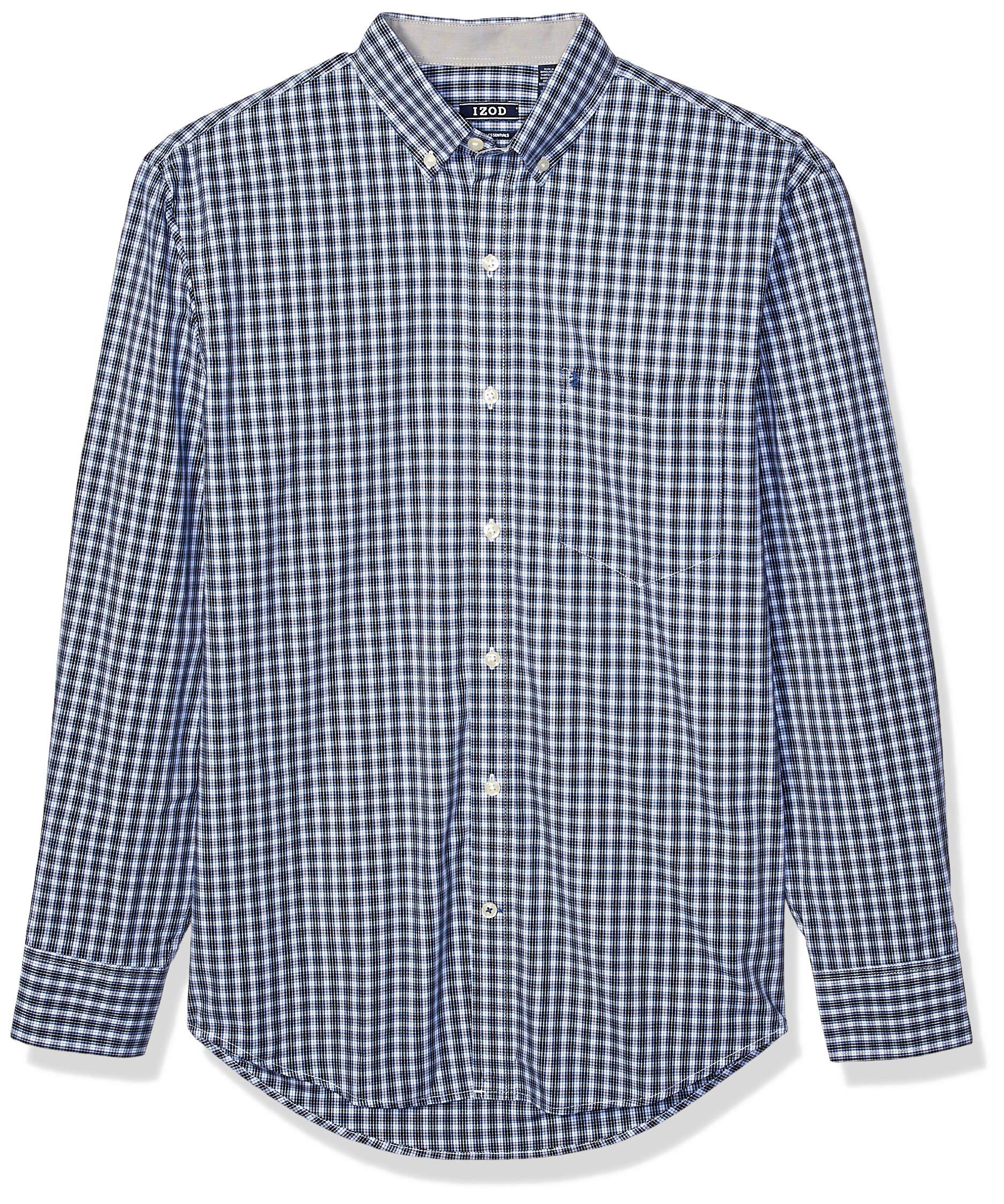 IZOD Mens Slim Button Down Long Sleeve Stretch Performance Solid Shirt