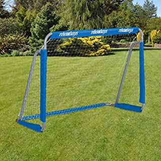 Relaxdays Pojkar fotbollsmål Relaxdays Fu bollmål för trädgård grind barn vuxna metall med grindsnät HBT 110 x 15, grå/blå...