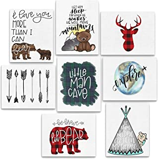 "8 Piece Woodland Animal Adventure Nursery Prints - 8x10"" Explore, Teepee, Little Man Cave, Bear, Buffalo Plaid Deer, Arrows, Let Him Sleep, Be Brave"