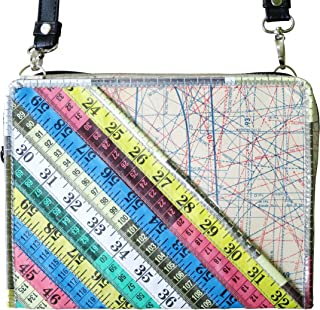 Medium crossbody bag made from measuring tape - FREE SHIPPING - upcycled vegan recycled reclaimed salvaged handmade unique burda shoulder sling tapes measure gift for seamstress tailor grandma