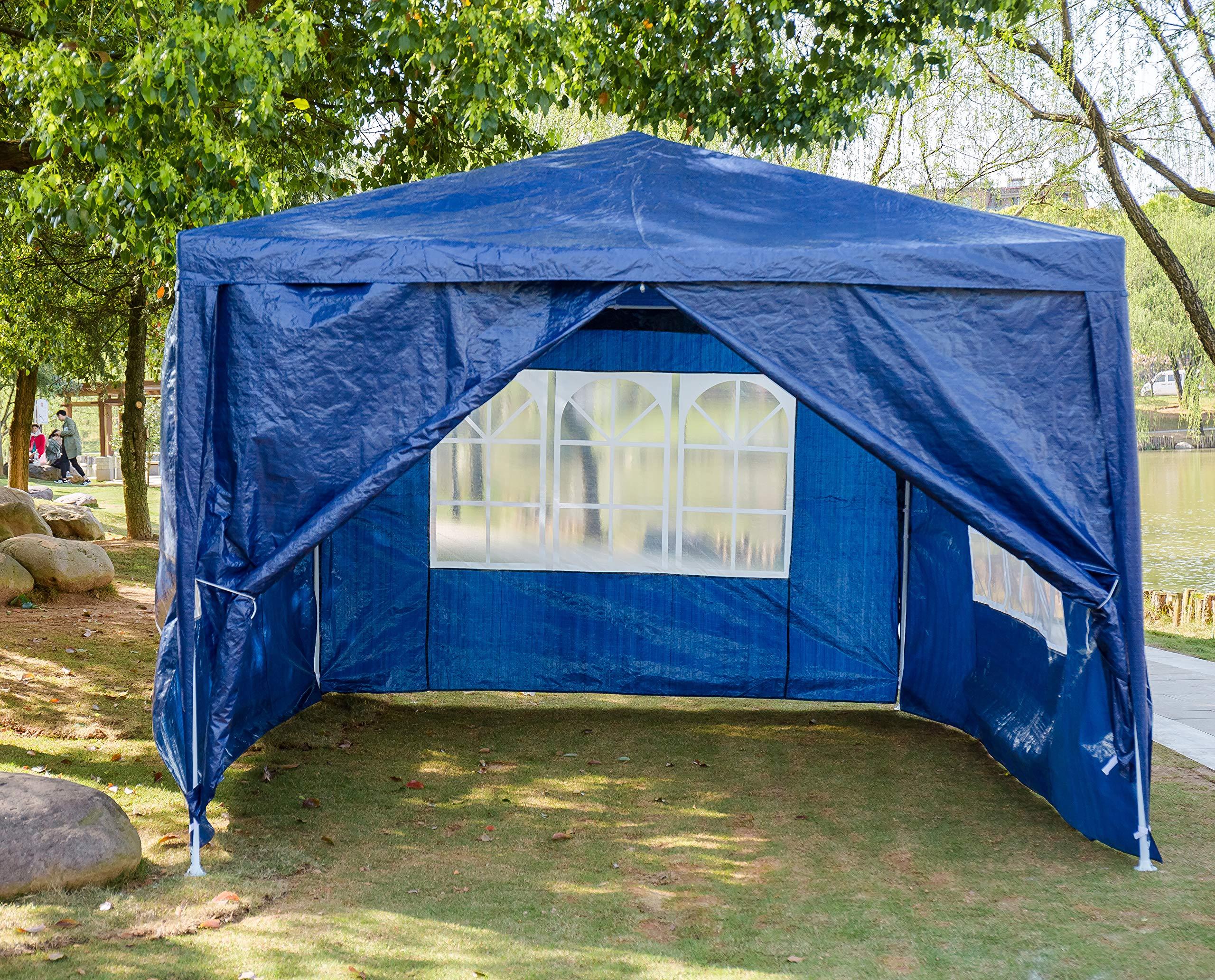SiKy Carpa de jardín de 3 x 4 m de Alta Resistencia con Paneles Laterales, Totalmente Impermeable, Marco de Hierro con Recubrimiento en Polvo para Bodas, jardín, Fiesta, Patio, césped (Azul): Amazon.es: