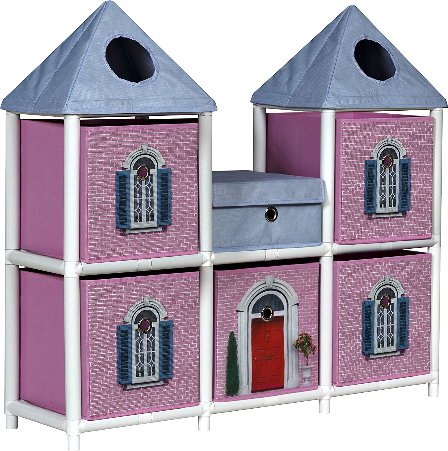OneSpace 100% Recycled Paper Fantasy House Kids Storage Unit, Pink and bluee