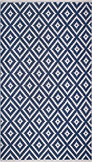 Fab Habitat Reversible PET Rugs - Handwoven | Indoor or Outdoor Use | Stain Resistant, Easy to Clean Weather Resistant | Chanler - Blue (4' x 6')